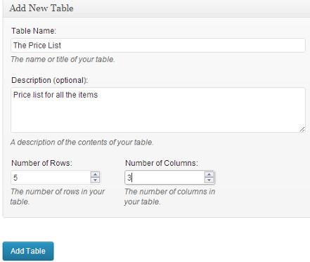 ایجاد جدول در وردپرس
