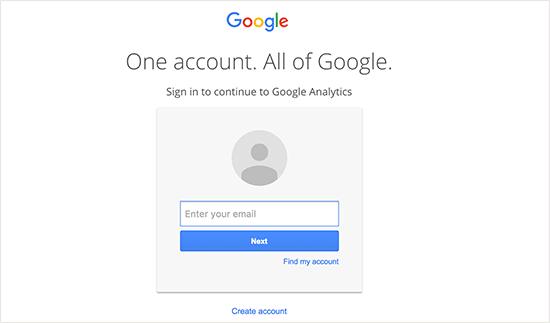 صفحه ورود Google Analytics