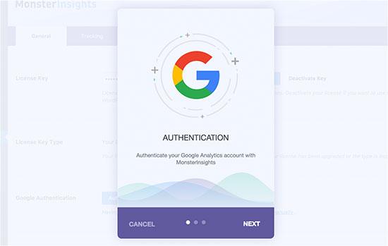 پنجره احراز هویت حساب کاربری گوگل