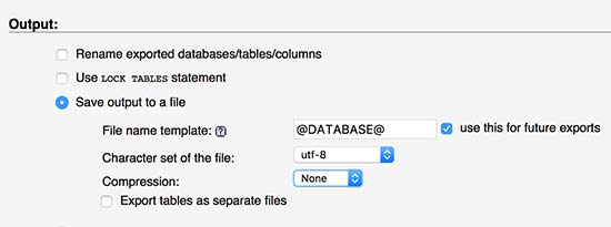 تنظیمات فایل خروجی از کپی دیتابیس