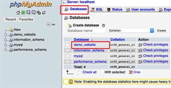 انتخاب دیتابیس در phpmyadmin جهت کپی سازی