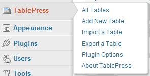 پلاگین TablePress