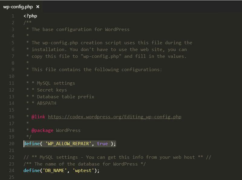 بهینه سازی دیتابیس وردپرس از طریق wp-config