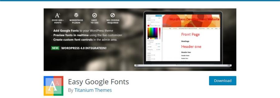 پلاگین وردپرس Easy Google Fonts