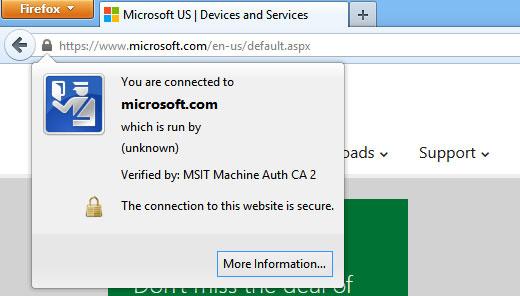 مشاهده گواهی SSL وبسایت