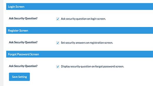 فعالسازی سوالات امنیتی در صفحات لاگین،ثبت نام و بازیابی رمز