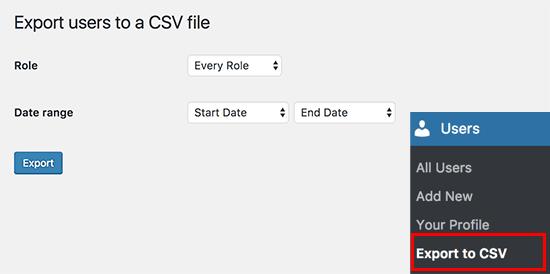 دریافت اطلاعات کاربران بصورت فایل CSV