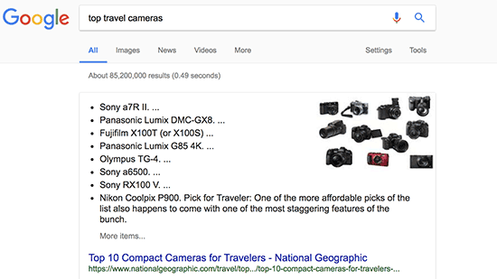 نمایش لیست ها در پاسخ های گوگل