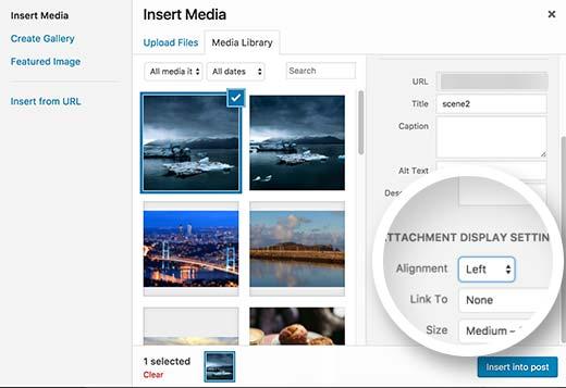 تنظیم موقعیت تصاویر در وردپرس