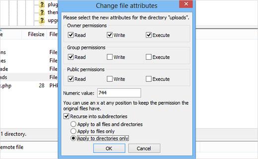 تغییر دسترسی فایلها برای حل مشکل آپلود تصاویر