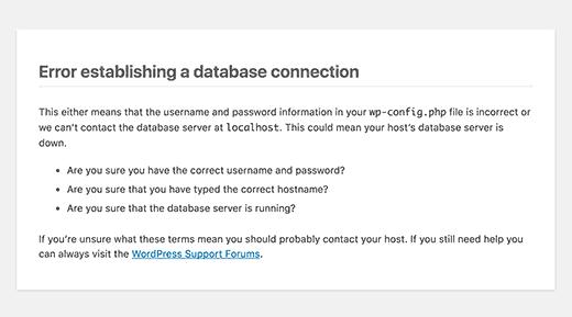 رفع کردن ارور Establishing a Database Connection در وردپرس