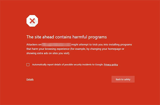 ارور این سایت حاوی برنامه های مضر است در سایت وردپرس