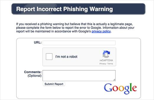 درخواست از گوگل برای عدم نمایش پیغام خطا