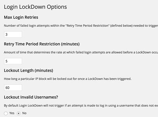 تنظیمات افزونه امنیتی login lockdown