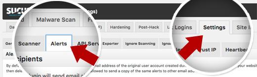 تنظیمات ایمیل در افزونه امنیتی sucuri