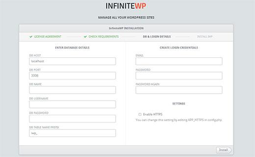 ساخت اکانت کاربری در infinitewp
