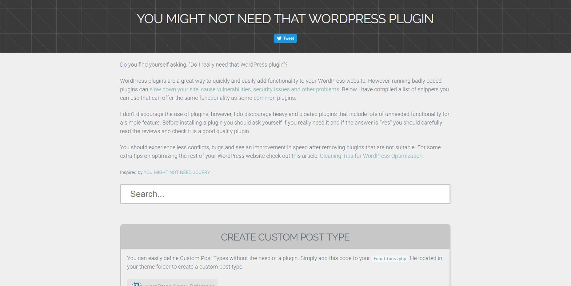 استفاده از کدها در وردپرس توسط You Might Not Need That WP Plugin