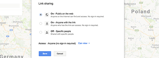 تنظیمات به اشتراک گذاشتن نقشه گوگل