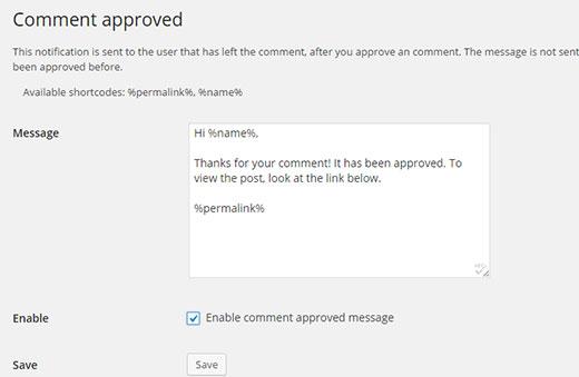 ارسال هشدار پذیرفته شدن کامنتها در سایت وردپرس