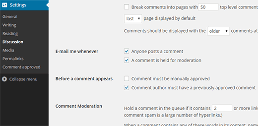 تنظیمات پلاگین Comment Approved
