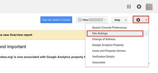 تنظیمات سایت در کنسول جستجوی گوگل