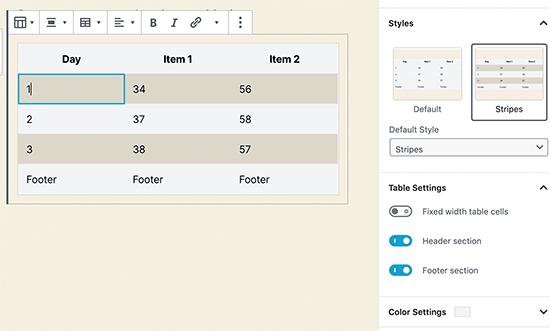 بلوک جدول جدید در وردپرس 5.3
