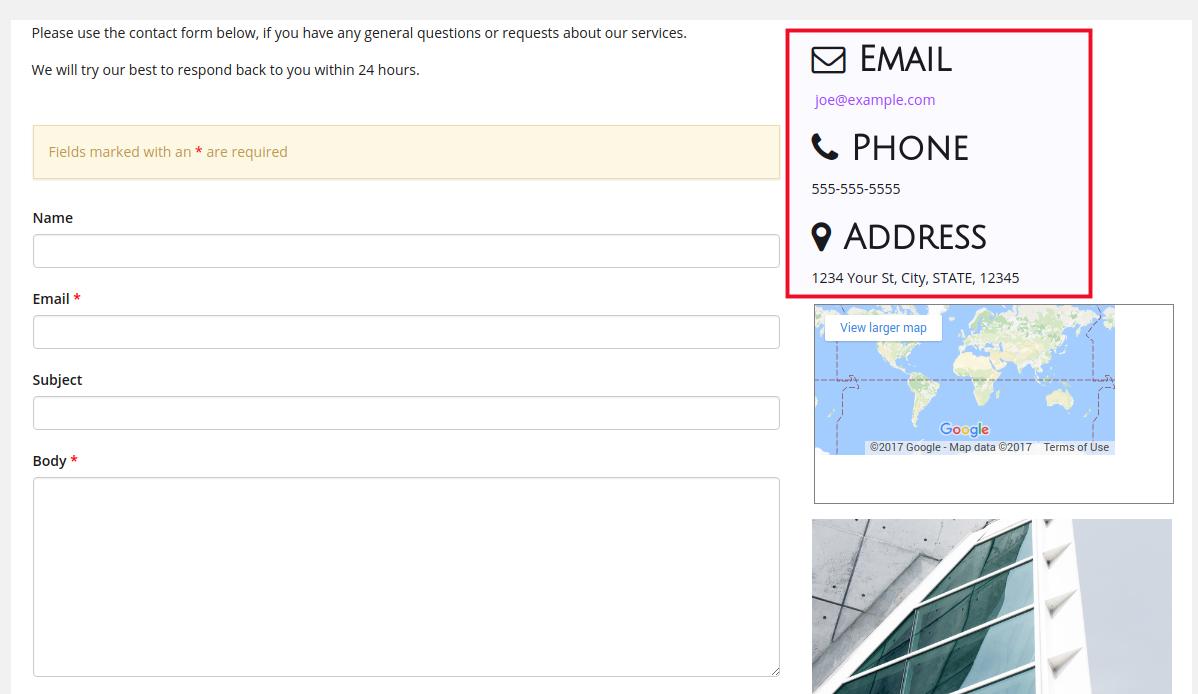 بروزرسانی اطلاعات صفحه تماس